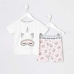 Shop our new Mini girls pink unicorn cycle shorts outfit at River Island today. Order now for Free Click & Collect and Delivery (Ts&Cs apply). Toddler Pajamas, Baby Girl Pajamas, Baby Girls, Pajama Outfits, Christmas Pajamas, Christmas Christmas, Make Her Smile, Cute Little Girls, Short Outfits