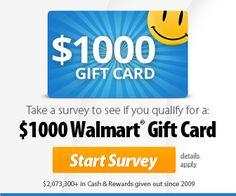 win 1 of 50 $1000 WALMART GIFT CARD!
