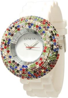 Geneva White w/ Dark Multi Color Elegant Crystals Rhinestones Silicone Watch Geneva. $12.99. Silicone Style Soft, Bendable, Flexible Band. Japan Quartz Movement. Approximately 1.5 inches face. 6 Rows of Multi Color Layered CZ Diamonds. Wrist Sizes : Up to 7.5 inches. Save 48% Off!