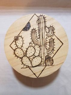 Catus and succulent wood burned jewelry box by TheWoodBurningBean