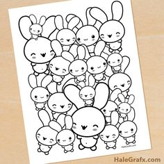 Free Easter Printables: Many Bunny Coloring Page  | HaleGrafx