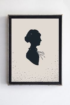 Victorian Woman Silhouette Print Fine Art Home Decor Home and Wall Art Navy Blue Silhouette of a Woman's Profile Polka Dots