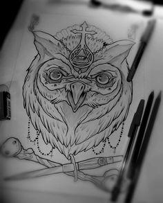 Fantasy owl tattoo design. #tattoo #tattoos #ink