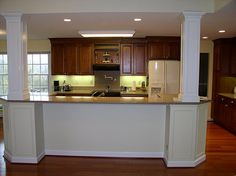 kitchen islands between support posts - Google Search