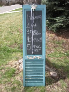 REPURPOSED furniture Upcycled, aqua blue cream chalk paint, bi-fold door turned chalkboard memo center