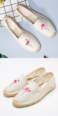 Women's Pink Flamingo Decorated Canvas Shoes