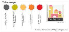 Dec 2014 Color Recipe - Smokey Shadow, Simply Chartreuse, Summer Sunrise, Orange Zest, Pure Poppy