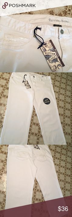 White Rhythm In Blues Capri Jean Modern Fit 16 NWT Soft Touch , Stretch Rythm In Blues Jeans