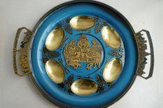 Vintage Judaica Passover 127/8 inch brass and metal by shainkeit, $40.00