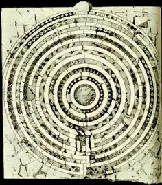 Roma - Santa Maria in Trastevere - Labirinto in mosaico di 333 cm. di diametro distrutto nel 1867.