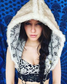 Spirit Hood Faux Fur with Sacred Shipibo by BlackSheepMovement
