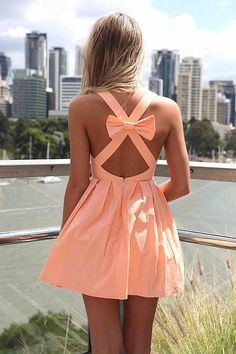 Coral Dress. Criss-cross bow-tie back! So cute!