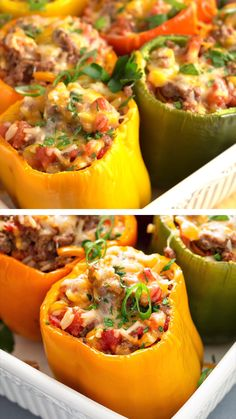 Truly one of the best stuffed peppers recipes! They're so delicious and EASY without the need to par-boil the pepper first. Start with gorgeous multi-colored bell peppers, filled with a hearty mix of ground beef, rice, tomatoes, and seasonings, then finished with cheese and baked until tender. It's a perfect all in one healthy, delicious dinner that your family will love! Stuffed Bell Peppers Easy, Italian Stuffed Peppers, Vegetarian Stuffed Peppers, Low Carb Stuffed Peppers, Easy Healthy Recipes, Low Carb Recipes, Quick Recipes, Paleo Dinner, Dinner Recipes