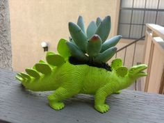 This plantasaurus creation is sure to bring cheer to your home. OhNoJoJo shared her bright green plantasaurus project that is as simple as three steps. You can create your own dinosaur planter with an inexpensive dollar store toy and some craft paint.    Make a whole collection of dinosaurs in vibrant colors. Use them to decorate a windowsill or make one for a friend as a housewarming gift. Would be cute for a little boy's room