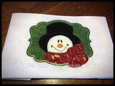 Adorable festive appliqued snowman within a by SewCuteDigiDesigns