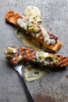 Classic beurre blanc enhanced with ramps and chopped Cerignola olives makes a creamy, velvety sauce for grilled salmon.