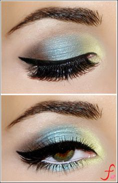 Gorgeous Eye Makeup. Blue, green and Brown eye shadow. Winged cat eye. #eyemakeup #makeup #bridal