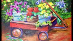 How to Paint Flower Pots in a Wagon a Beginner Acrylic Painting Tutorial by Ginger Cook Simple Acrylic Paintings, Acrylic Painting Techniques, Painting Videos, Painting Lessons, Acrylic Art, Diy Painting, Art Lessons, Painting & Drawing, Cook Lessons