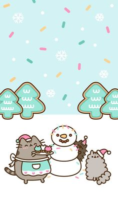 FREE Exclusive Pusheen Android and iPhone® Christmas Wallpapers - - wallpaper - Cat Wallpaper