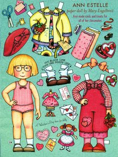 Uncut Paper Doll by Mary Engelbreit Valentines Day with Ann Estelle