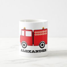 Personalized Red Fire Truck Coffee Mug firefighter retirement, firefighter tattoo, firefighter hoody #militarygift #militarydad #firefighter, christmas decorations, thanksgiving games for family fun, diy christmas decorations