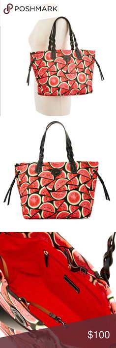 """Dooney & Bourke Watermelon Bag • Snap Closure • 1 Interior Zip Pocket, 2 Slip Pockets, 1 Cellphone Pocket & Key Hook • 11.25"""" W x 11.42"""" H x 6.75"""" D • Purchased at Macy's • Sold Out Online Dooney & Bourke Bags"""