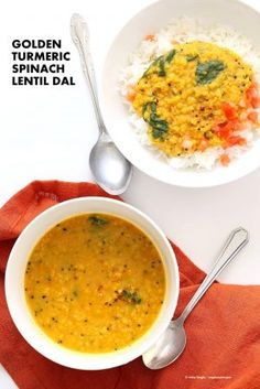 Turmeric Spinach Lentil Dal - Red Lentil Soup. Easy Lentil Soup with turmeric and greens. No garlic no onion Dhal. Golden Lentil Dal. Vegan Gluten-free Soy-free Recipe.| VeganRicha.com