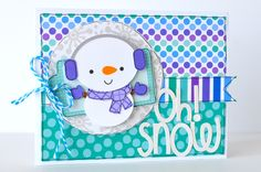 Oh! Snow - Scrapbook.com - adorable snowman card made with the Doodlebug Frosty Friends collection