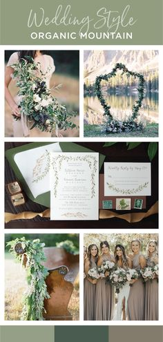 Classy and organic mountain wedding inspiration with lots of greenery, garlands, beige accents and soft white florals. Wedding invitation set has hand painted green garland and soft rustic mountains. Earthy color palette to compliment the breathtaking backdrop of your mountain wedding.