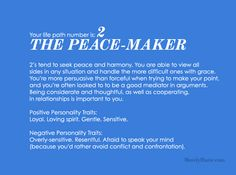 °Life Path Number 2 ~ The Peace-Maker