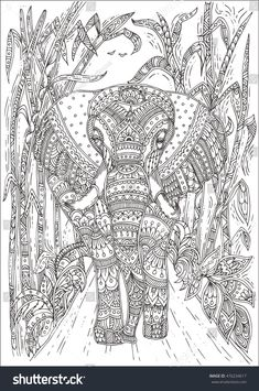 Doodle Patterns 170081323408032966 - Hand-drawn elephant with ethnic floral doodle pattern. Coloring page – zendala, design for meditation, relaxation for adults, vector illustration, isolated on a white background. Zen doodles Source by mellecarine Blank Coloring Pages, Free Adult Coloring Pages, Pattern Coloring Pages, Mandala Coloring Pages, Animal Coloring Pages, Printable Coloring Pages, Coloring Books, Doodle Patterns, Zentangle Patterns