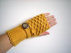 SALEAutumn Gold Arm Warmers Mustard Yellow by vintageniltb on Etsy, $27.00