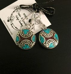 Tibetan earrings - Raw stone earrings - German silver - Vintage jewelry - Nepali earrings - Handmade earrings - Turquoise earrings