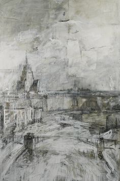 Valery Koshlyakov MOSCOW signed with initials in Cyrillic and dated 98 l. further signed in Cyrillic and dated 1998 on the reverse mixed media on paper laid on canvas 292 by 115 by 76 in. A Level Art, Sense Of Place, Urban Landscape, Beautiful Paintings, Modern Art, Art Drawings, Abstract Art, Illustration Art, Fine Art