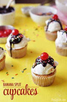 Banana Split Cupcakes ~ I love banana splits and this cupcake recipe takes a classic favorite to a another level! Great dessert for a kids birthday party, the kids can have fun decorating their cupcake.