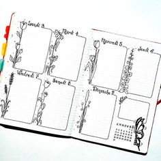 Weekly bullet journal log with flowers Bullet Journal Mise En Page, Bullet Journal Frames, Bullet Journal 2020, Bullet Journal Ideas Pages, Bullet Journal Spread, Bullet Journal Layout, Bullet Journal Inspiration, Journal Pages, Journals
