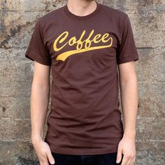 Coffee Breakfast T-shirt, Men's American Apparel Brown Tee. $19.99, via Etsy.