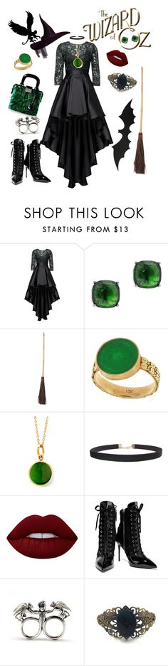 """""""I'll get you my pretty!! & your little dog too!"""" by hayleylovee ❤ liked on Polyvore featuring Christian Pellizzari, Lauren Ralph Lauren, Syna, Humble Chic, Lime Crime, Giuseppe Zanotti, Dsquared2, Flying Monkey, Zara Taylor and Halloween"""