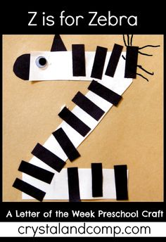 Z is for Zebra: Letter of the Week Preschool Craft I'm Anna from The Measured Mom, and it's been so fun sharing letter of the week crafts and learning ideas with you at Crystal & Company! This is our fina Preschool Letter Crafts, Alphabet Letter Crafts, Abc Crafts, Classroom Crafts, Alphabet Activities, Book Crafts, Preschool Crafts, Preschool Activities, Letter Art