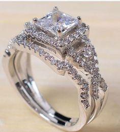White Gold Filled Princess Cut Wedding Ring sz-5-10 . Starting at $12