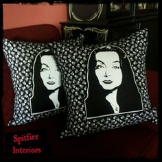 Morticia Addams Throw Pillows. Available at Spitfire Interiors in Uptown Whittier..