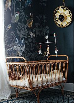 Monday nursery inspiration -- this one dark and magical to get in the Halloween spirit. Black walls in a nursery? Via nursery by