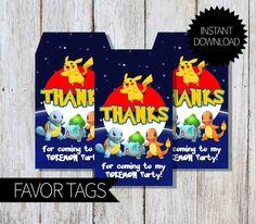 Pokemon Party PRINTABLE Favor Tags- Instant Download | Pokémon Go by APartyPrintable on Etsy https://www.etsy.com/listing/454976894/pokemon-party-printable-favor-tags