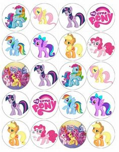 pony party cup cake toppers