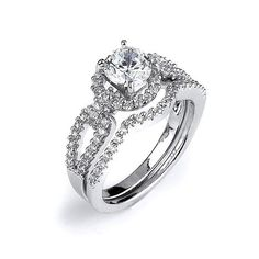 Split Shank CZ Bridal Set Halo Solitaire Engagement Ring with Matching Wedding Band Silver Rhodium Rings Cubic Zirconia Engagement Rings, Halo Engagement Rings, Engagement Jewelry, Engagement Ring Settings, Wedding Engagement, Zirconia Rings, Engagement Ideas, Halo Rings, Matching Wedding Bands