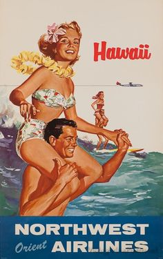 Graphic Design - Graphic Design Ideas - A fun vintage Northwest Orient Airlines poster promoting travel to Hawaii. Graphic Design Ideas : – Picture : – Description A fun vintage Northwest Orient Airlines poster promoting travel to Hawaii. Hawaii Vintage, Vintage Surf, Vintage Hawaiian, Retro Poster, Poster S, Hawaii Surf, Hawaii Travel, Hawaii Vacation, Beach Travel