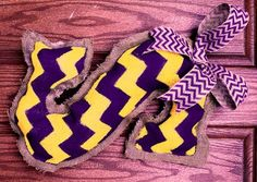 Hand-painted Burlap Door Hanger with Choice of 2 colors. This one is purple and gold for LSU fans. Painted Initials, Painted Burlap, Hand Painted, Initial Door Hanger, Door Hangers, Wreath Ideas, Cute Crafts, Lsu, 2 Colours