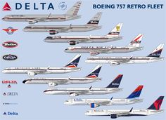 Delta has painted a retro jet for it's collection at the Delta Museum. 757 ( 7th from the top) will be featured