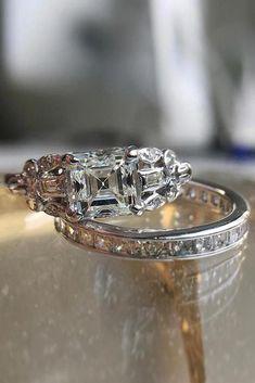 3.13ct Rare Art Deco Halo Asscher Cut AAA CZ Wedding Engagement Ring Size 5