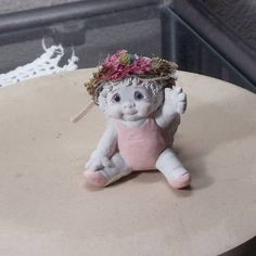 """Darling Vintage Cast Art 2.25""""Angel Figurine,Dreamsicles, Cherub Angel in Pink Onesie,Waving, by Kristin,96,NEW LISTING!!,#VB7377 by ckdesignsforyou. Explore more products on http://ckdesignsforyou.etsy.com"""